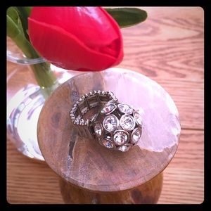 White House Black Market Jewelry - WHBM Cocktail ring, rhinestone with stretch strap